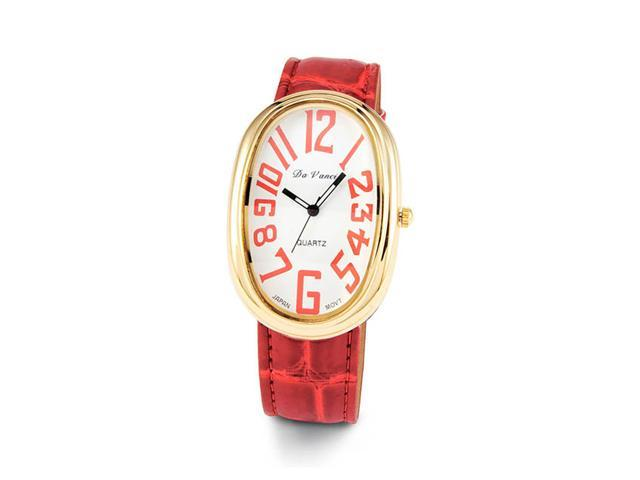 Ladies Red Leather Band Gold Tone Quartz Wristwatch