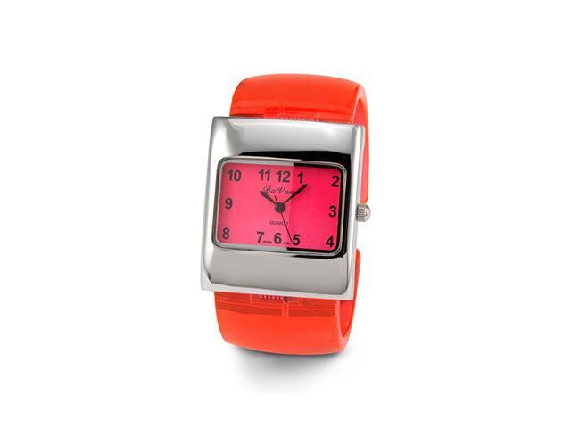 Ladies Red Silver Tone Plastic Quartz Bracelet Watch