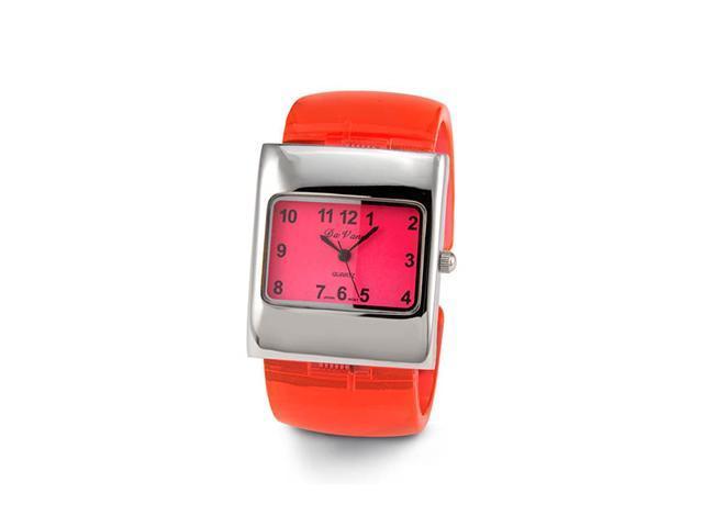 Ladies Red Silver Tone Plastic Quartz Bracelet Watch