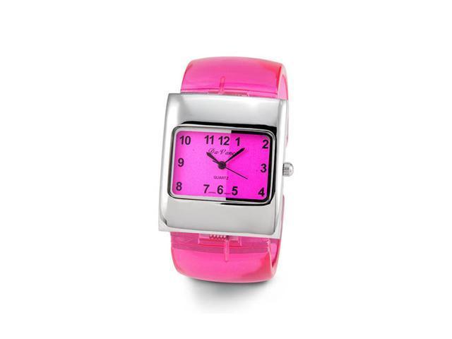 Ladies Pink Silver Tone Plastic Quartz Bracelet Watch