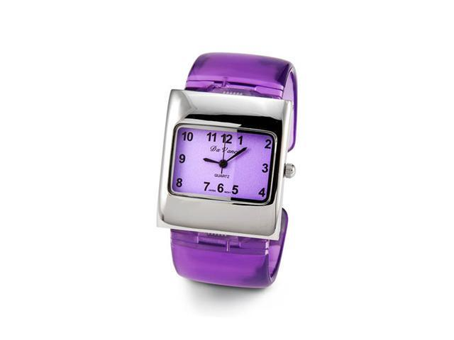 Ladies Purple Silver Tone Plastic Quartz Bracelet Watch