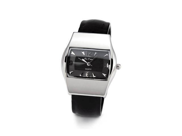 Ladies Silver Tone Black Quartz Bracelet Wristwatch