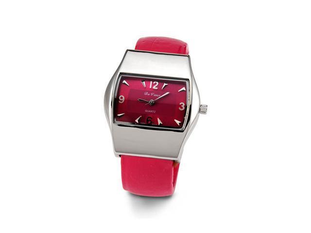 Ladies Silver Tone Pink Quartz Bracelet Wristwatch