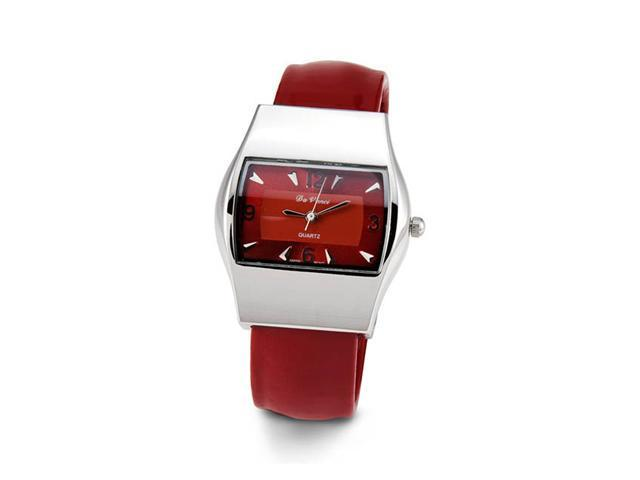 Ladies Silver Tone Red Quartz Bracelet Wristwatch