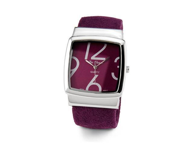 Women's Purple Silver Tone Quartz Bracelet Wristwatch