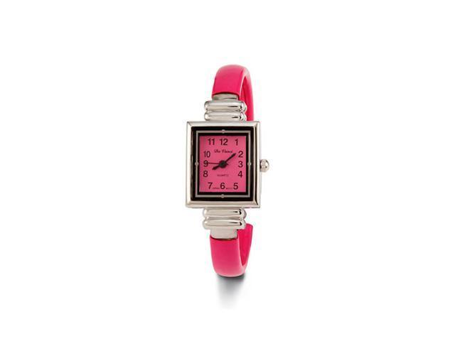New Women's Pink Silver Tone Strap Quartz Bangle Watch