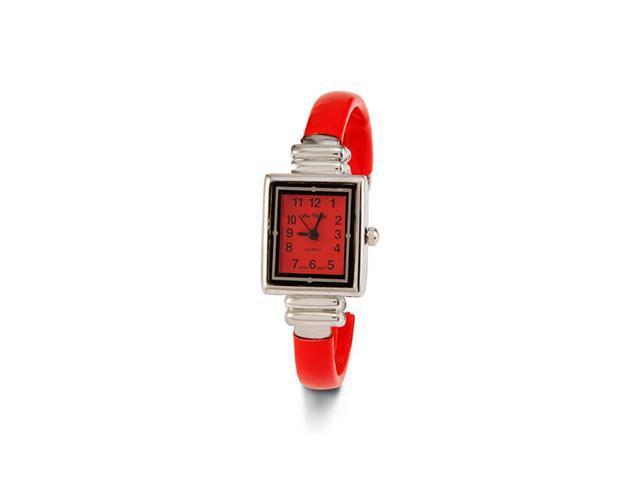 New Women's Red Silver Tone Strap Quartz Bangle Watch