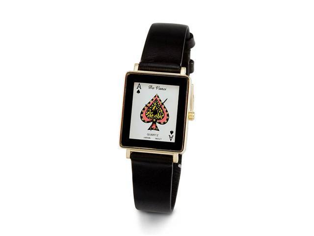Mens Ace Of Spades White Face Black Band Wrist Watch