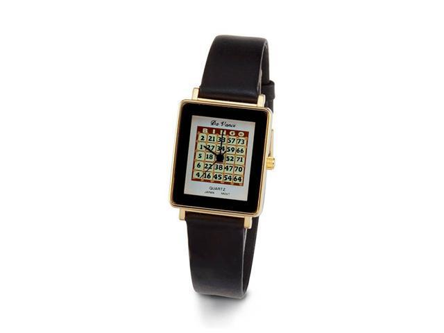 Ladies New Gold Tone Bingo Card Style Black Band Watch
