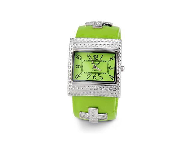 Ladies Silver Tone Green Quartz Fashion Wristwatch
