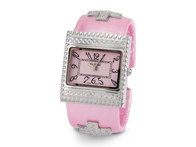 Ladies Silver Tone Pink Dial Quartz Fashion Wristwatch