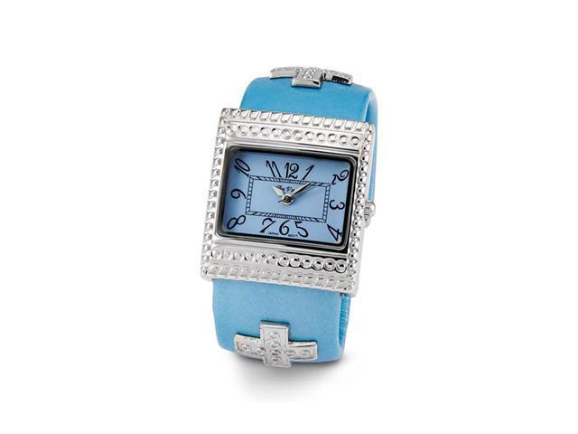 Ladies Silver Tone Blue Quartz Fashion Wristwatch