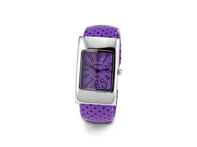 Ladies Black Purple Silver Tone Bangle Bracelet Watch