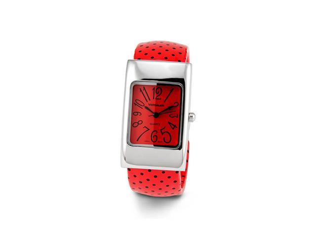 Ladies Red Black Silver Tone Bangle Bracelet Watch