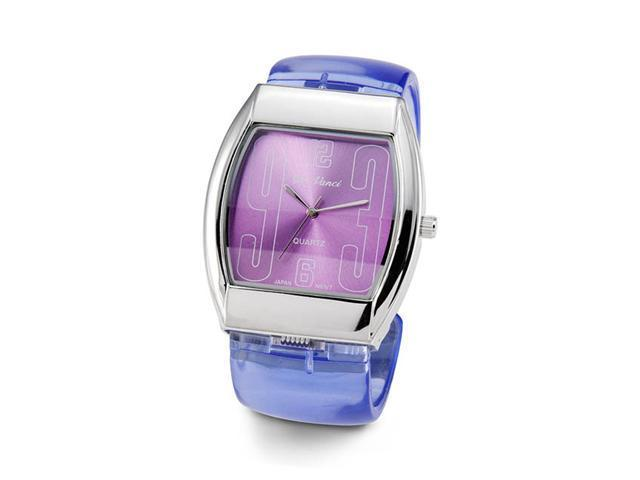 Ladies Blue Purple Silver Tone Plastic Bracelet Watch