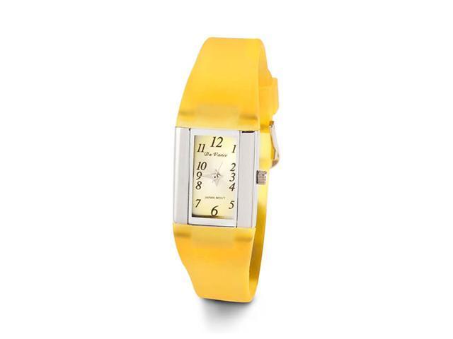 Ladies Yellow Rubber Band Silver Tone Quartz Wristwatch