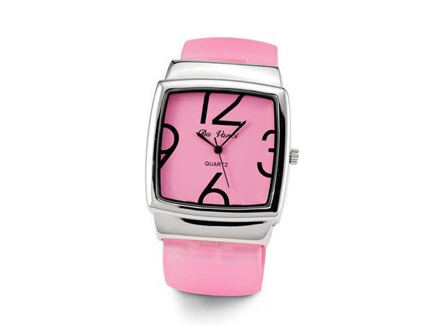Ladies Quartz Pink Plastic Silver Tone Bracelet Watch
