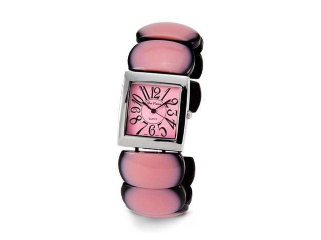 Ladies Pink Black Silver Tone Quartz Bracelet Watch