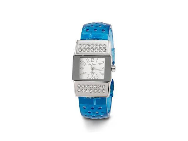 New Women's Blue Acrylic Band CZ Quartz Bangle Watch