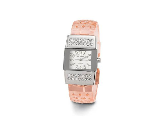 New Women's Pink Acrylic Band CZ Quartz Bangle Watch