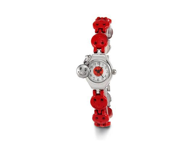 New Women's Red Smiley Face Silver Tone Bracelet Watch