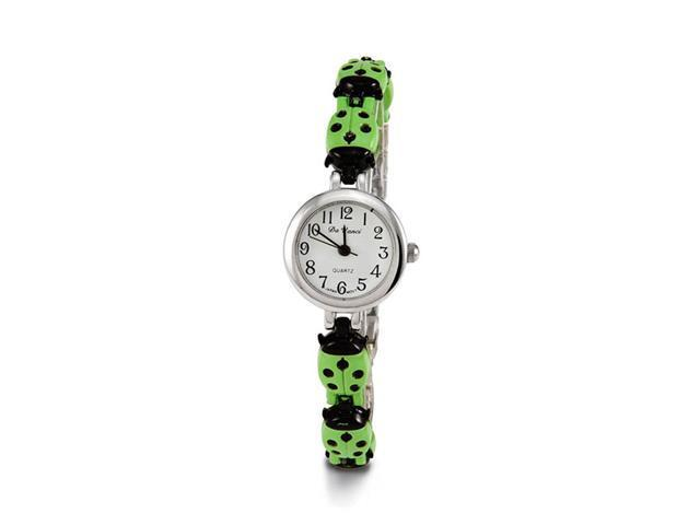 Women's Black Green Lady Bug Silver Tone Bracelet Watch