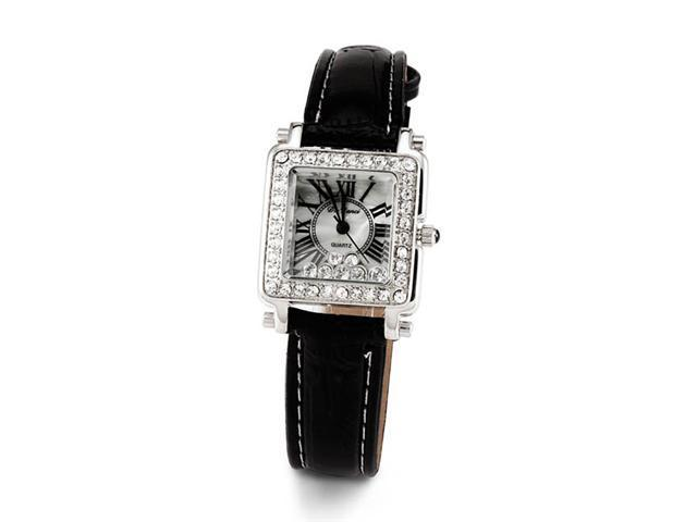 Ladies Black Leather Silver Tone White CZ Wristwatch
