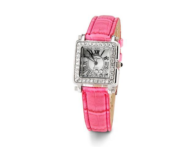 Ladies Silver Tone White CZ Pink Leather Wristwatch