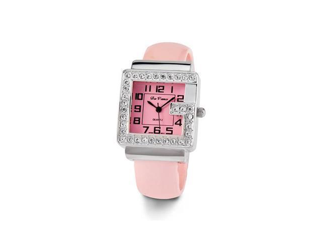 Womens White CZ Stone Pink Ladies Fashion Bangle Watch