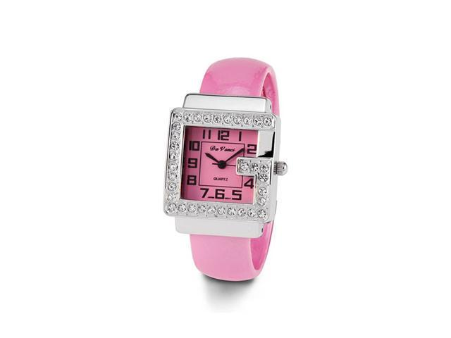 Ladies White CZ Stone Pink Women's Fashion Bangle Watch