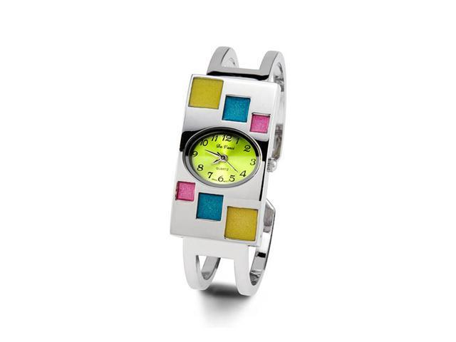 Ladies Multi Color Silver Tone Quartz Bangle Watch