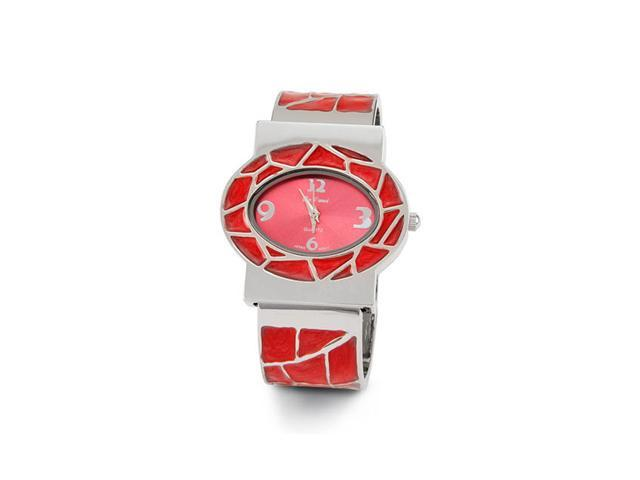 New Women's Silver Tone Red Band Quartz Bangle Watch
