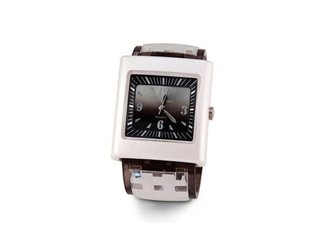 Ladies Gray White Plastic Bracelet Quartz Wristwatch