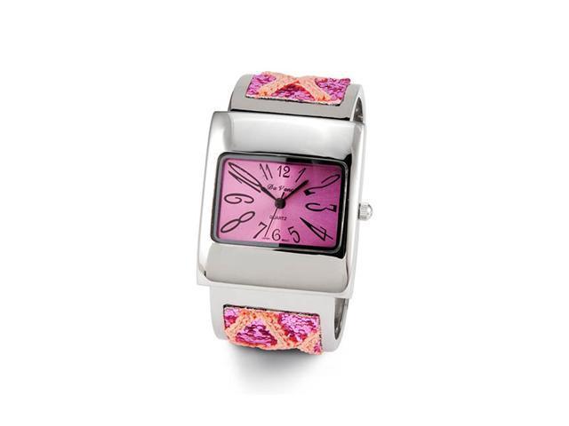 Ladies Pink Glitter Silver Tone Quartz Bracelet Watch