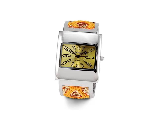 Ladies Yellow Orange Glitter Silver Tone Bracelet Watch