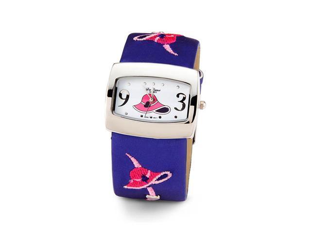 Womens Pink Hat Blue Silver Tone Quartz Wristwatch
