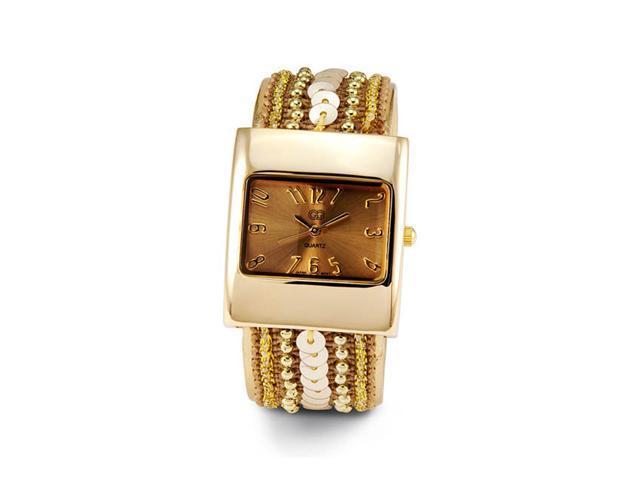 Ladies Sequin Gold Tone Bracelet Quartz Fashion Watch