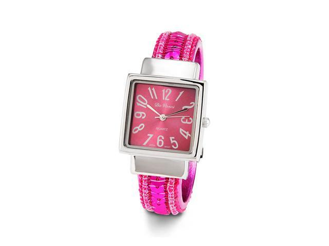 Womens Silver Tone Pink Sequins Quartz Bangle Watch
