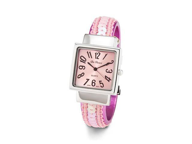 Ladies Silver Tone Pink Sequin Bangle Quartz Watch