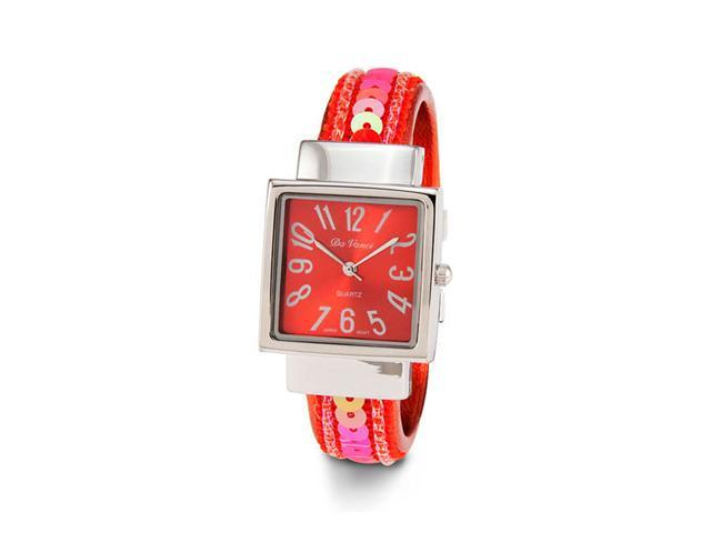 Ladies Silver Tone Red Sequin Bangle Quartz Watch