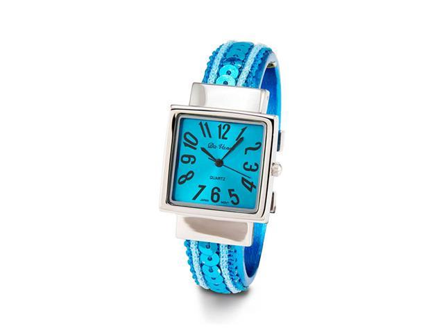 Ladies Turquoise Sequin Silver Tone Bangle Quartz Watch