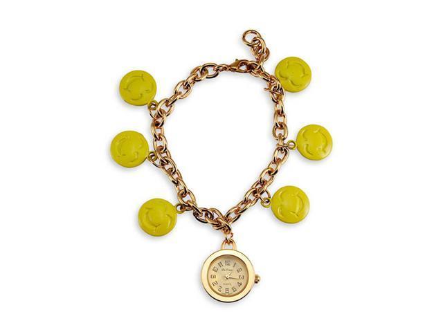 New Women's Gold Tone Smiley Faces Charm Bracelet Watch