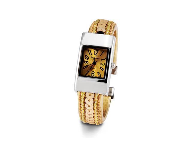 Ladies Gold Sequin Silver Tone Bracelet Quartz Watch