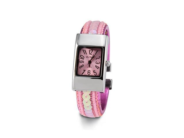 Ladies Pink Sequin Silver Tone Bracelet Quartz Watch