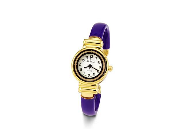 Women's Gold Tone Purple Bracelet Quartz Fashion Watch