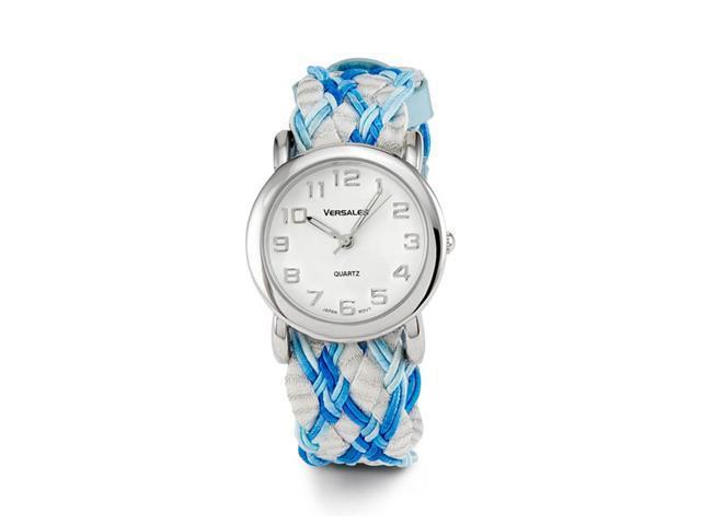 New Women's Blue Braided Fabric Band Quartz Watch