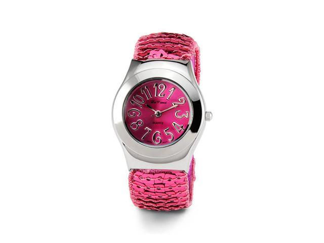 Ladies Pink Dial Silver Tone Quartz Women's Wristwatch