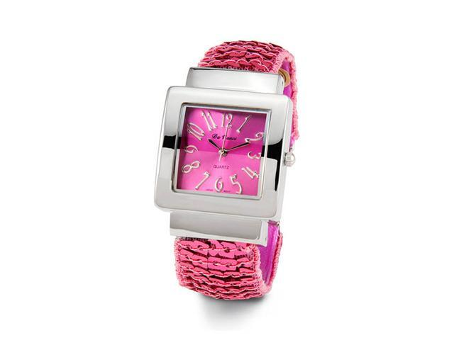 Womens Pink Dial Silver Tone Bracelet Ladies Wristwatch