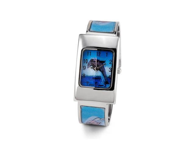Ladies Blue Holographic Dolphin Bangle Bracelet Watch