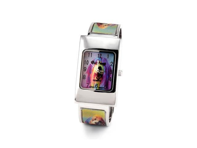Ladies Green Holographic 3d Dog Bangle Bracelet Watch